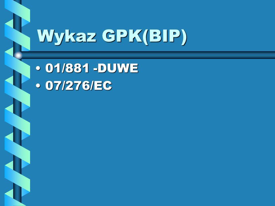 Wykaz GPK(BIP) 01/881 -DUWE 07/276/EC