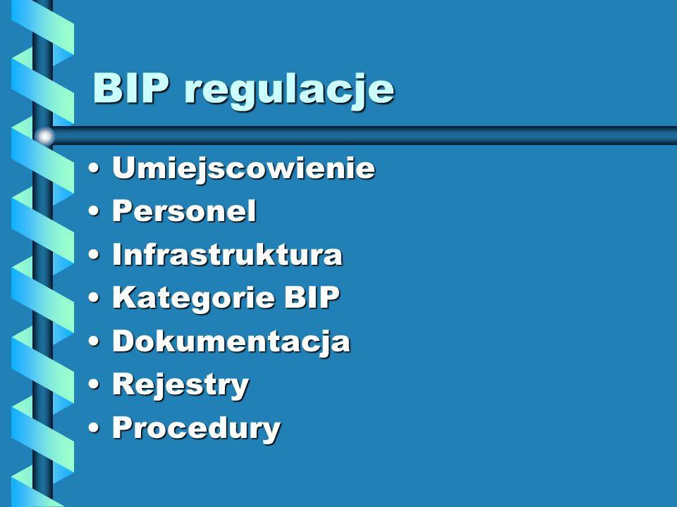 BIP regulacje Umiejscowienie Personel Infrastruktura Kategorie BIP