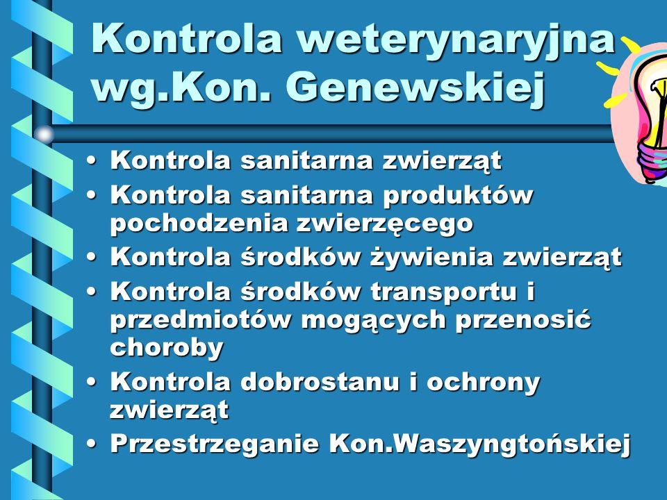 Kontrola weterynaryjna wg.Kon. Genewskiej