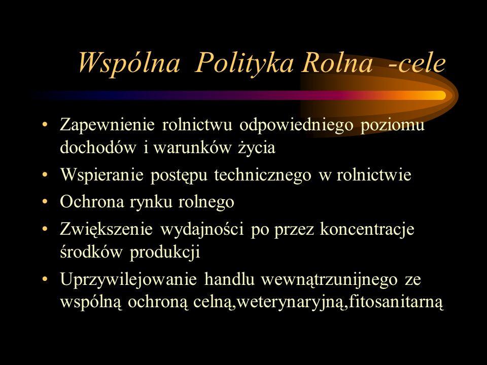 Wspólna Polityka Rolna -cele