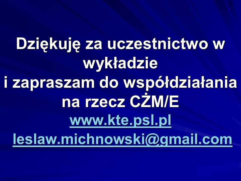 Dziękuję za uczestnictwo w wykładzie i zapraszam do współdziałania na rzecz CŻM/E www.kte.psl.pl leslaw.michnowski@gmail.com