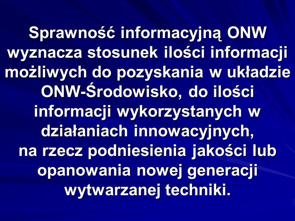 Sprawność informacyjną ONW wyznacza stosunek ilości informacji możliwych do pozyskania w układzie ONW-Środowisko, do ilości informacji wykorzystanych w działaniach innowacyjnych, na rzecz podniesienia jakości lub opanowania nowej generacji wytwarzanej techniki.