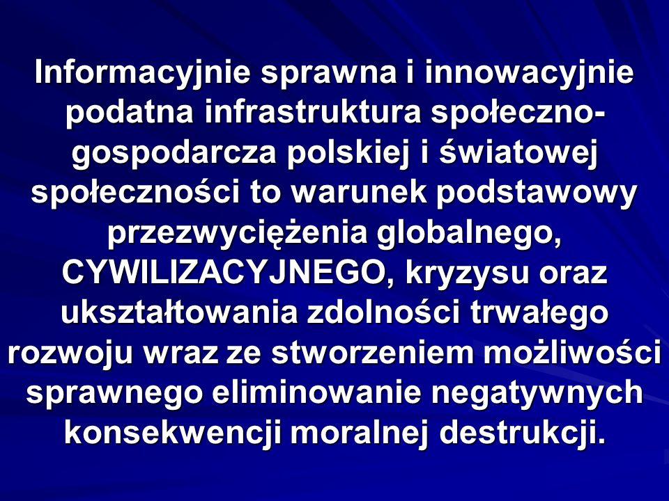 Informacyjnie sprawna i innowacyjnie podatna infrastruktura społeczno-gospodarcza polskiej i światowej społeczności to warunek podstawowy przezwyciężenia globalnego, CYWILIZACYJNEGO, kryzysu oraz ukształtowania zdolności trwałego rozwoju wraz ze stworzeniem możliwości sprawnego eliminowanie negatywnych konsekwencji moralnej destrukcji.