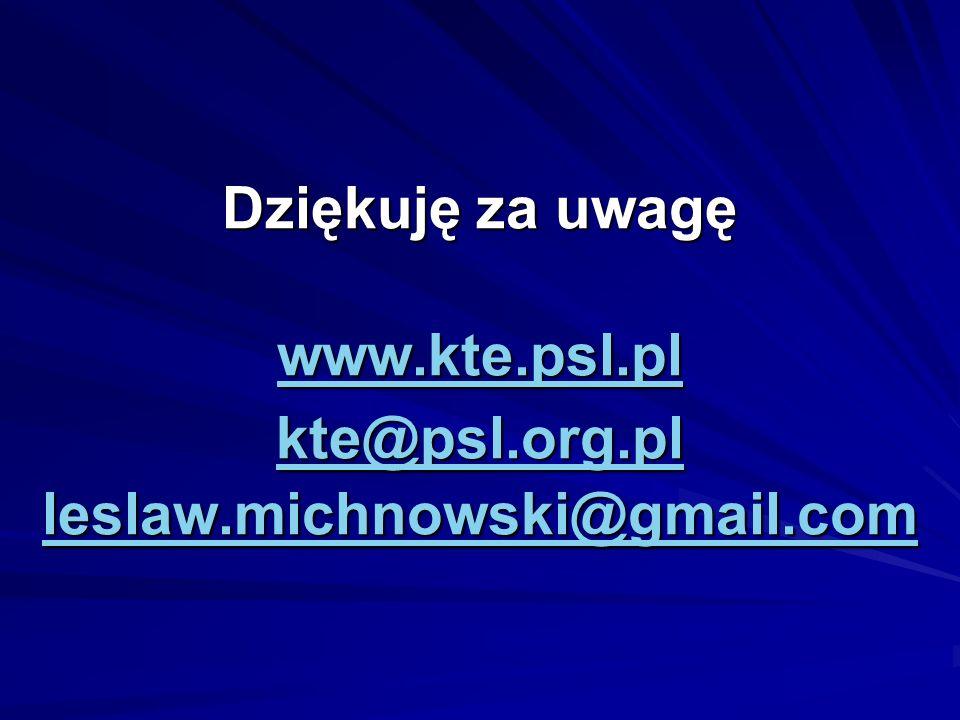 Dziękuję za uwagę www. kte. psl. pl kte@psl. org. pl leslaw