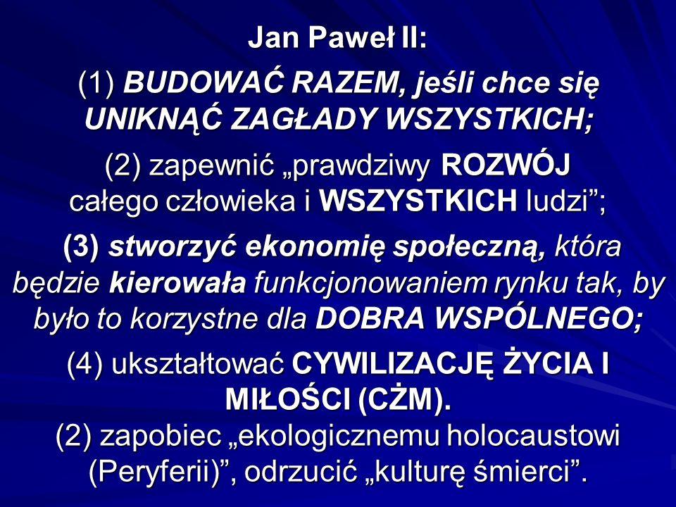 """Jan Paweł II: (1) BUDOWAĆ RAZEM, jeśli chce się UNIKNĄĆ ZAGŁADY WSZYSTKICH; (2) zapewnić """"prawdziwy ROZWÓJ całego człowieka i WSZYSTKICH ludzi ; (3) stworzyć ekonomię społeczną, która będzie kierowała funkcjonowaniem rynku tak, by było to korzystne dla DOBRA WSPÓLNEGO; (4) ukształtować CYWILIZACJĘ ŻYCIA I MIŁOŚCI (CŻM)."""