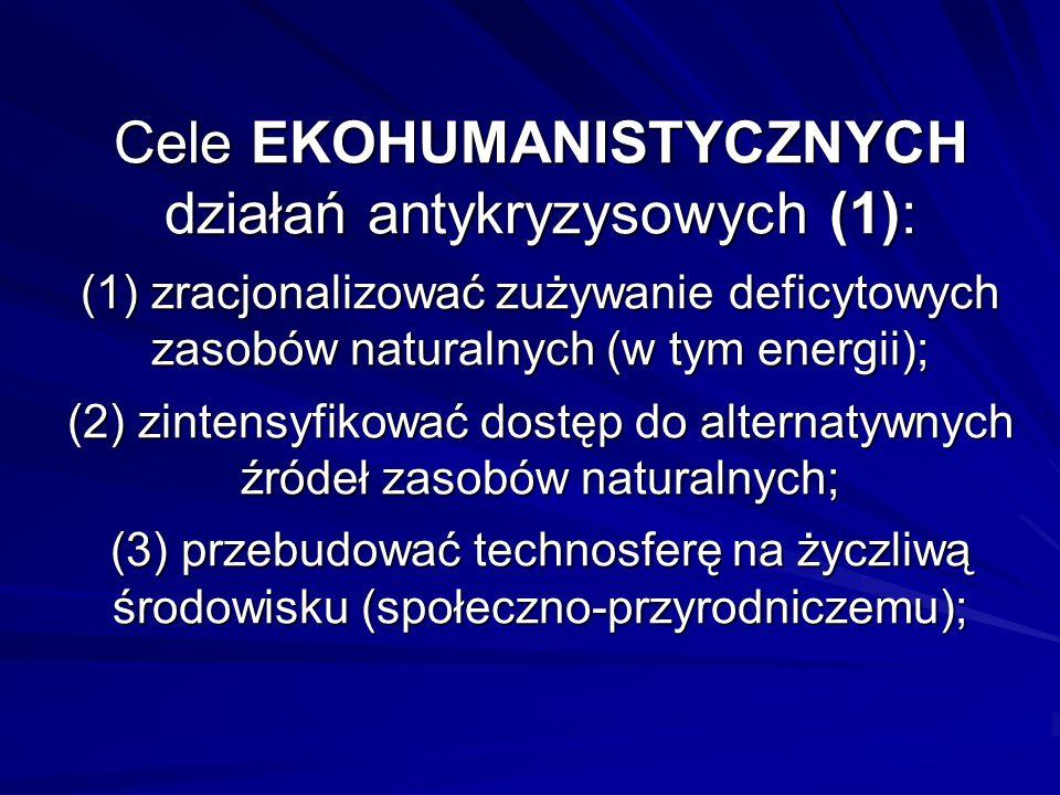 Cele EKOHUMANISTYCZNYCH działań antykryzysowych (1): (1) zracjonalizować zużywanie deficytowych zasobów naturalnych (w tym energii); (2) zintensyfikować dostęp do alternatywnych źródeł zasobów naturalnych; (3) przebudować technosferę na życzliwą środowisku (społeczno-przyrodniczemu);