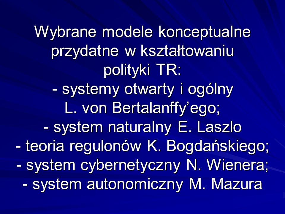 Wybrane modele konceptualne przydatne w kształtowaniu polityki TR: - systemy otwarty i ogólny L.