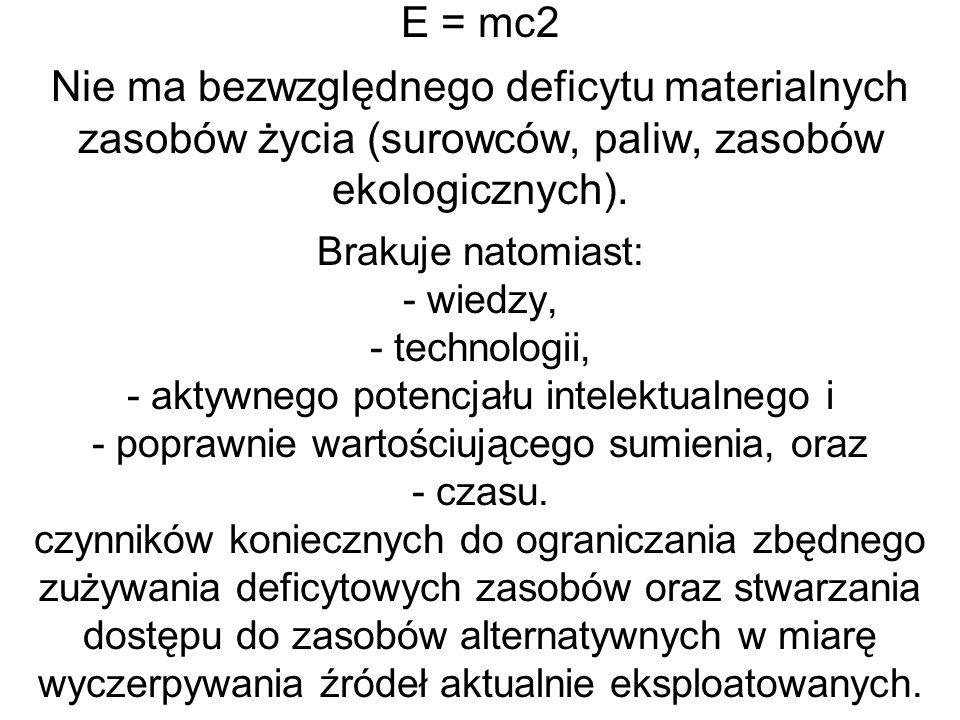 E = mc2 Nie ma bezwzględnego deficytu materialnych zasobów życia (surowców, paliw, zasobów ekologicznych).