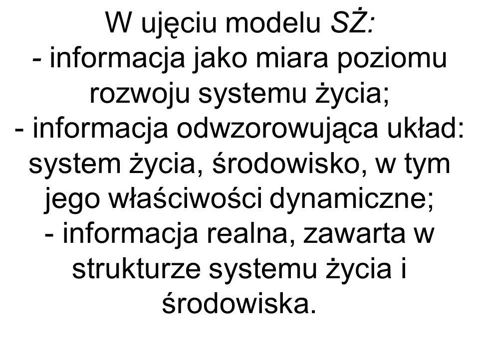 W ujęciu modelu SŻ: - informacja jako miara poziomu rozwoju systemu życia; - informacja odwzorowująca układ: system życia, środowisko, w tym jego właściwości dynamiczne; - informacja realna, zawarta w strukturze systemu życia i środowiska.