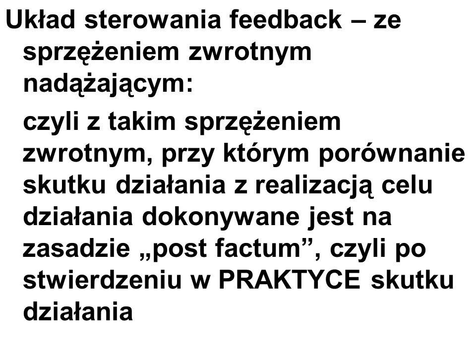 Układ sterowania feedback – ze sprzężeniem zwrotnym nadążającym: