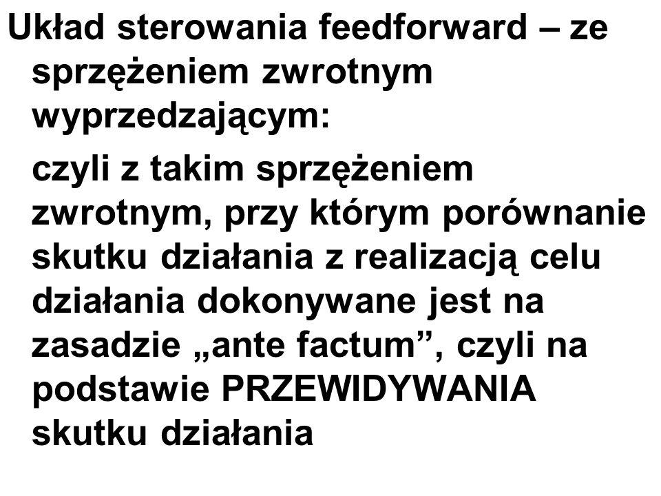 Układ sterowania feedforward – ze sprzężeniem zwrotnym wyprzedzającym: