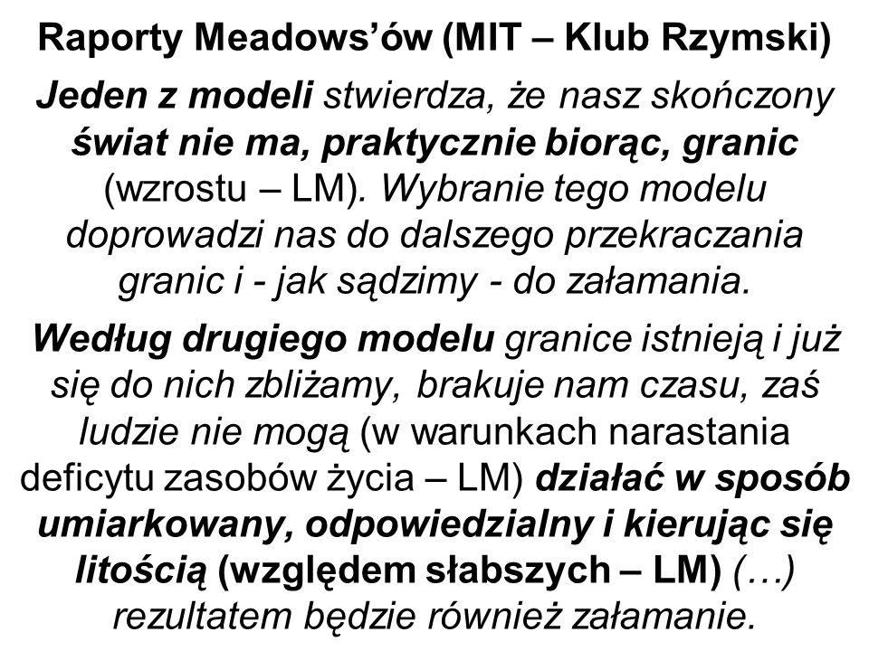 Raporty Meadows'ów (MIT – Klub Rzymski) Jeden z modeli stwierdza, że nasz skończony świat nie ma, praktycznie biorąc, granic (wzrostu – LM).