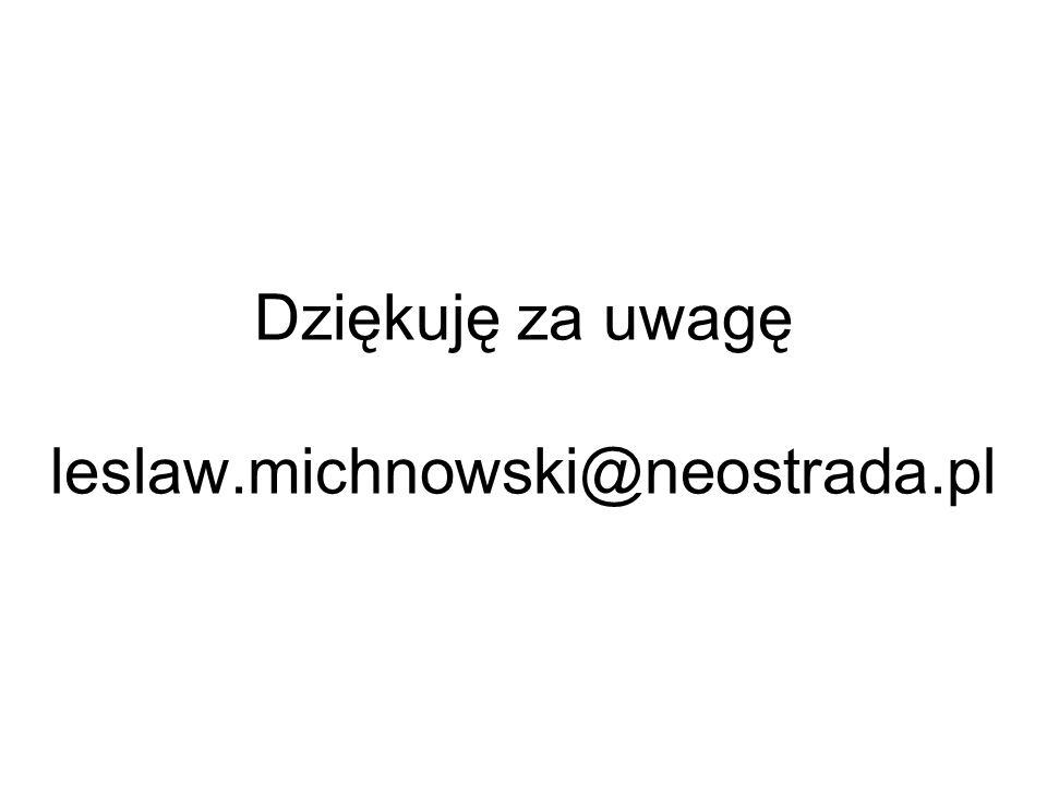 Dziękuję za uwagę leslaw.michnowski@neostrada.pl