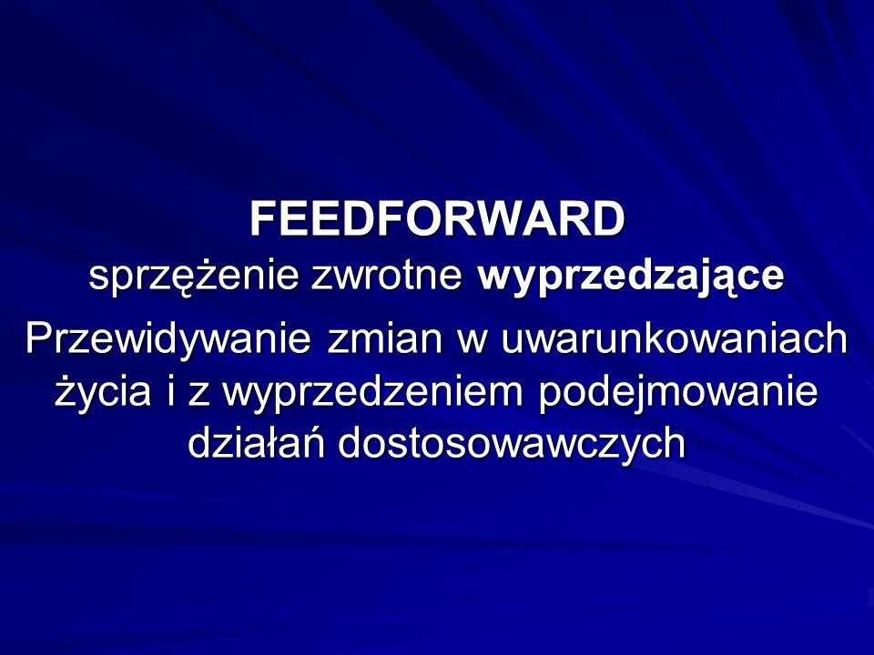 FEEDFORWARD sprzężenie zwrotne wyprzedzające Przewidywanie zmian w uwarunkowaniach życia i z wyprzedzeniem podejmowanie działań dostosowawczych