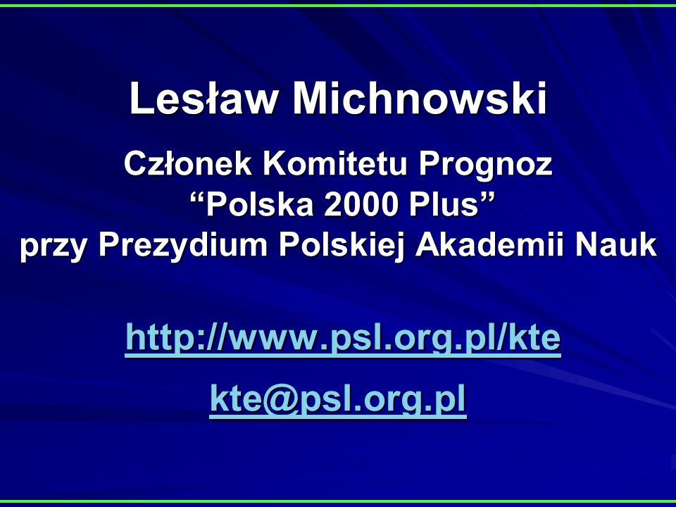 Lesław Michnowski Członek Komitetu Prognoz Polska 2000 Plus przy Prezydium Polskiej Akademii Nauk http://www.psl.org.pl/kte kte@psl.org.pl