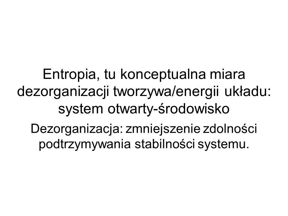 Entropia, tu konceptualna miara dezorganizacji tworzywa/energii układu: system otwarty-środowisko Dezorganizacja: zmniejszenie zdolności podtrzymywania stabilności systemu.