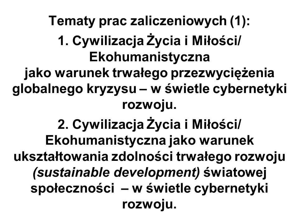 Tematy prac zaliczeniowych (1): 1