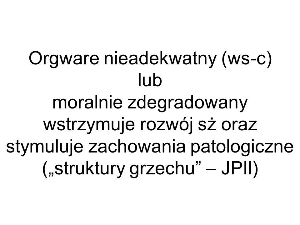 """Orgware nieadekwatny (ws-c) lub moralnie zdegradowany wstrzymuje rozwój sż oraz stymuluje zachowania patologiczne (""""struktury grzechu – JPII)"""