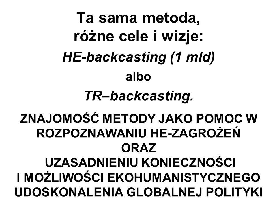 Ta sama metoda, różne cele i wizje: HE-backcasting (1 mld) albo TR–backcasting.