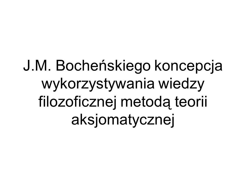J.M. Bocheńskiego koncepcja wykorzystywania wiedzy filozoficznej metodą teorii aksjomatycznej