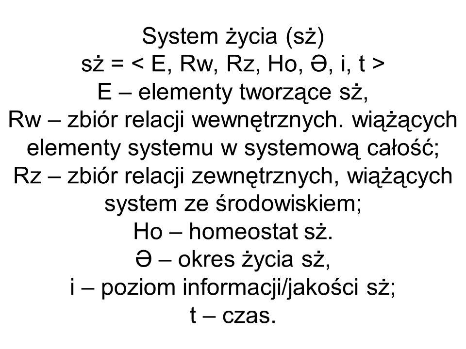 System życia (sż) sż = < E, Rw, Rz, Ho, Ə, i, t > E – elementy tworzące sż, Rw – zbiór relacji wewnętrznych.