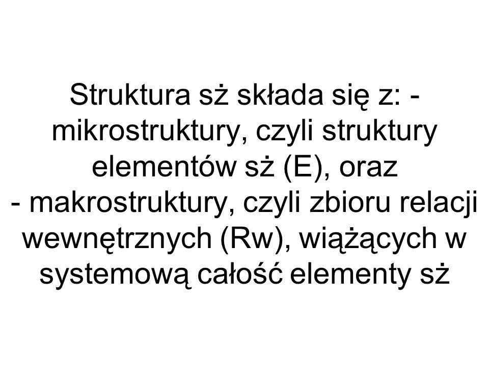 Struktura sż składa się z: - mikrostruktury, czyli struktury elementów sż (E), oraz - makrostruktury, czyli zbioru relacji wewnętrznych (Rw), wiążących w systemową całość elementy sż
