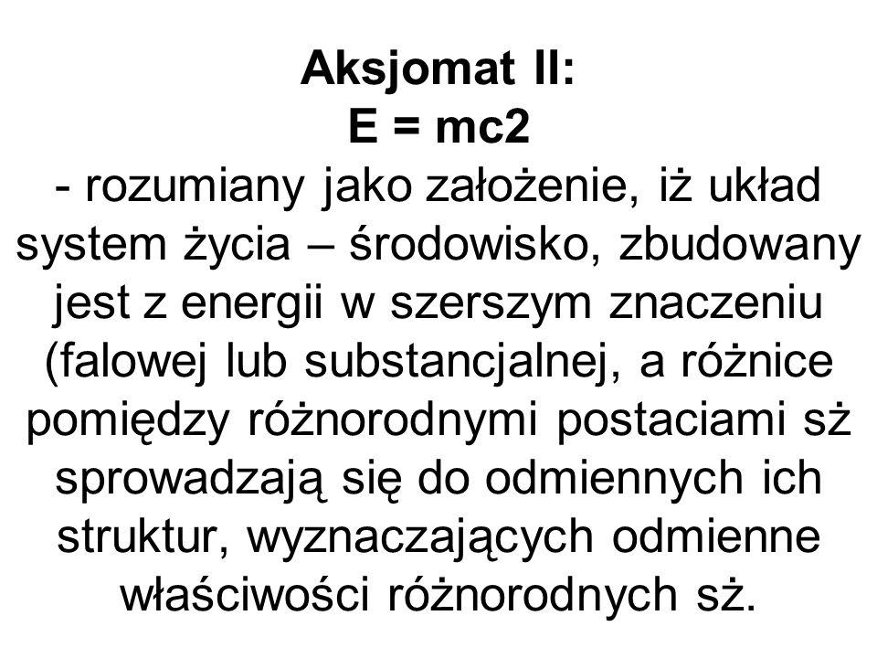 Aksjomat II: E = mc2 - rozumiany jako założenie, iż układ system życia – środowisko, zbudowany jest z energii w szerszym znaczeniu (falowej lub substancjalnej, a różnice pomiędzy różnorodnymi postaciami sż sprowadzają się do odmiennych ich struktur, wyznaczających odmienne właściwości różnorodnych sż.