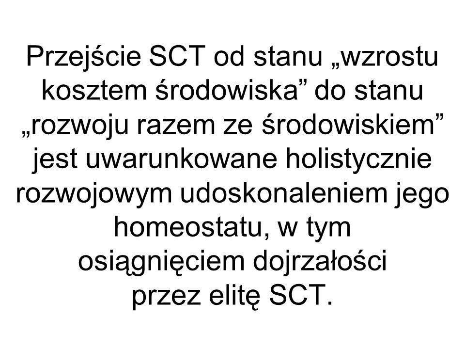 """Przejście SCT od stanu """"wzrostu kosztem środowiska do stanu """"rozwoju razem ze środowiskiem jest uwarunkowane holistycznie rozwojowym udoskonaleniem jego homeostatu, w tym osiągnięciem dojrzałości przez elitę SCT."""