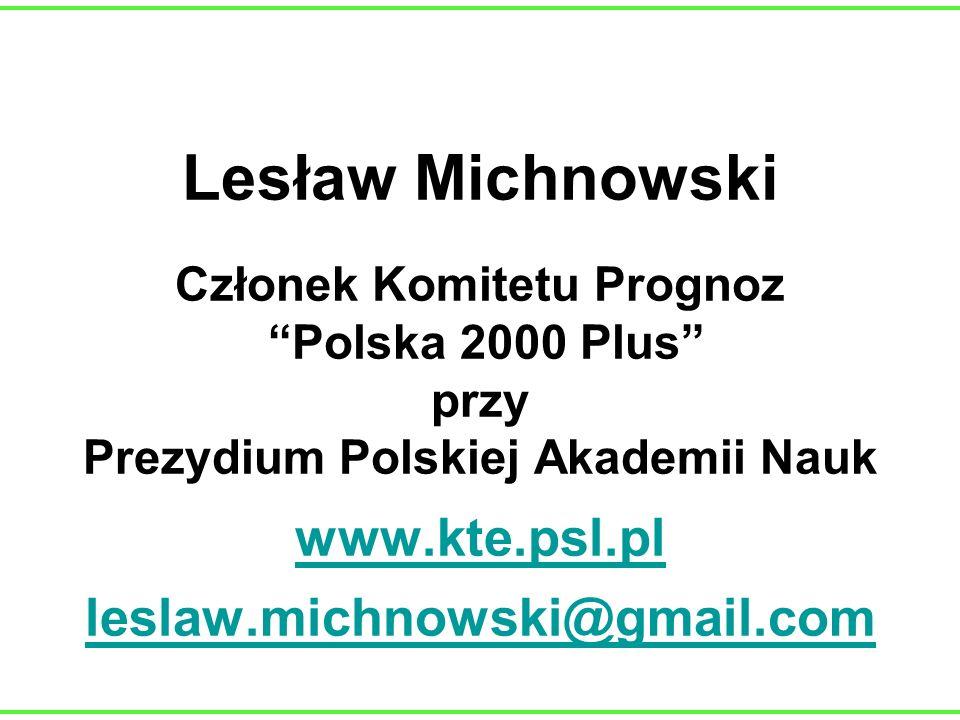 Lesław Michnowski Członek Komitetu Prognoz Polska 2000 Plus przy Prezydium Polskiej Akademii Nauk www.kte.psl.pl leslaw.michnowski@gmail.com