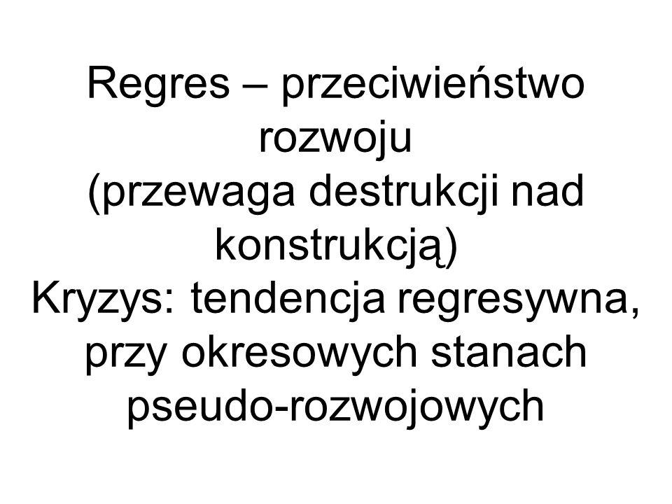Regres – przeciwieństwo rozwoju (przewaga destrukcji nad konstrukcją) Kryzys: tendencja regresywna, przy okresowych stanach pseudo-rozwojowych