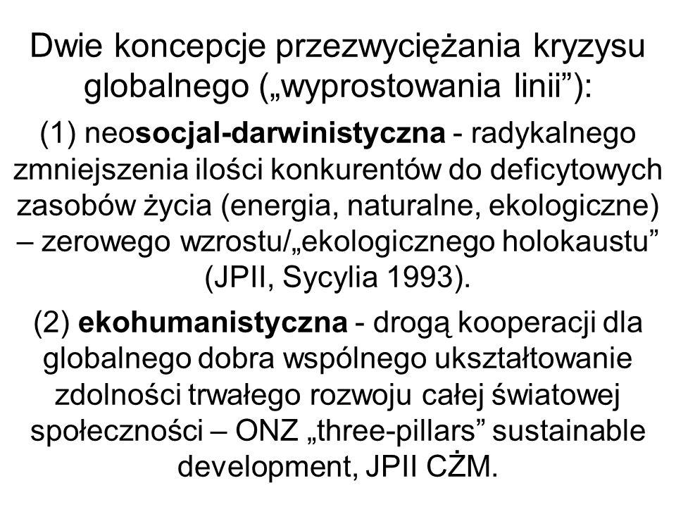"""Dwie koncepcje przezwyciężania kryzysu globalnego (""""wyprostowania linii ): (1) neosocjal-darwinistyczna - radykalnego zmniejszenia ilości konkurentów do deficytowych zasobów życia (energia, naturalne, ekologiczne) – zerowego wzrostu/""""ekologicznego holokaustu (JPII, Sycylia 1993)."""