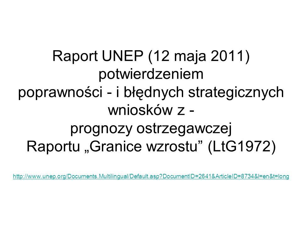 """Raport UNEP (12 maja 2011) potwierdzeniem poprawności - i błędnych strategicznych wniosków z - prognozy ostrzegawczej Raportu """"Granice wzrostu (LtG1972) http://www.unep.org/Documents.Multilingual/Default.asp DocumentID=2641&ArticleID=8734&l=en&t=long"""