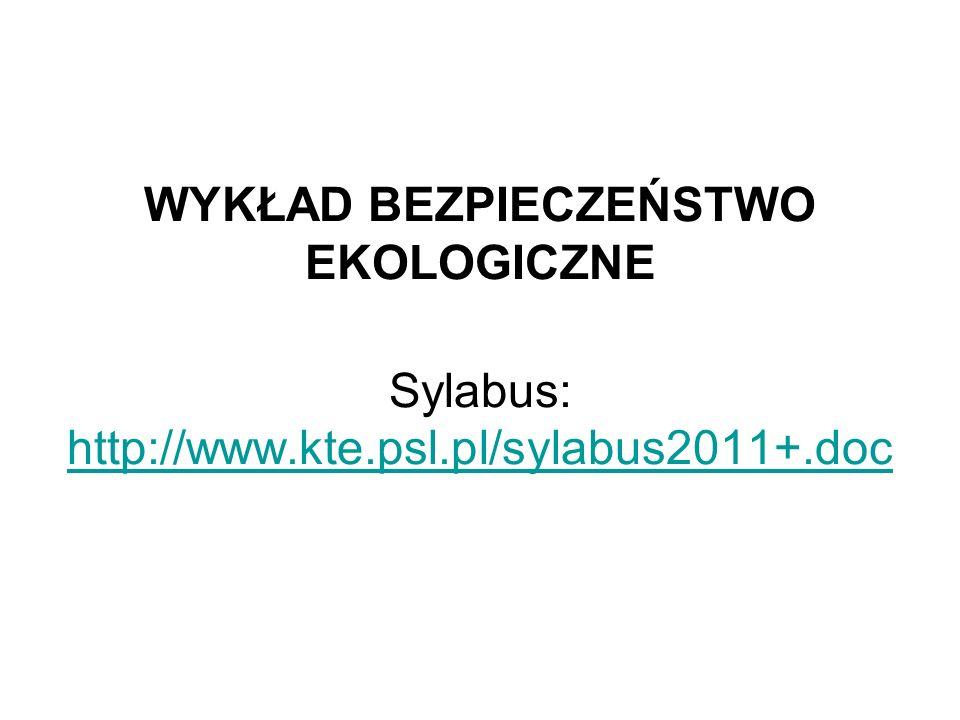 WYKŁAD BEZPIECZEŃSTWO EKOLOGICZNE Sylabus: http://www. kte. psl