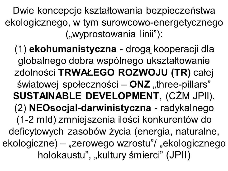 """Dwie koncepcje kształtowania bezpieczeństwa ekologicznego, w tym surowcowo-energetycznego (""""wyprostowania linii ): (1) ekohumanistyczna - drogą kooperacji dla globalnego dobra wspólnego ukształtowanie zdolności TRWAŁEGO ROZWOJU (TR) całej światowej społeczności – ONZ """"three-pillars SUSTAINABLE DEVELOPMENT, (CŻM JPII)."""