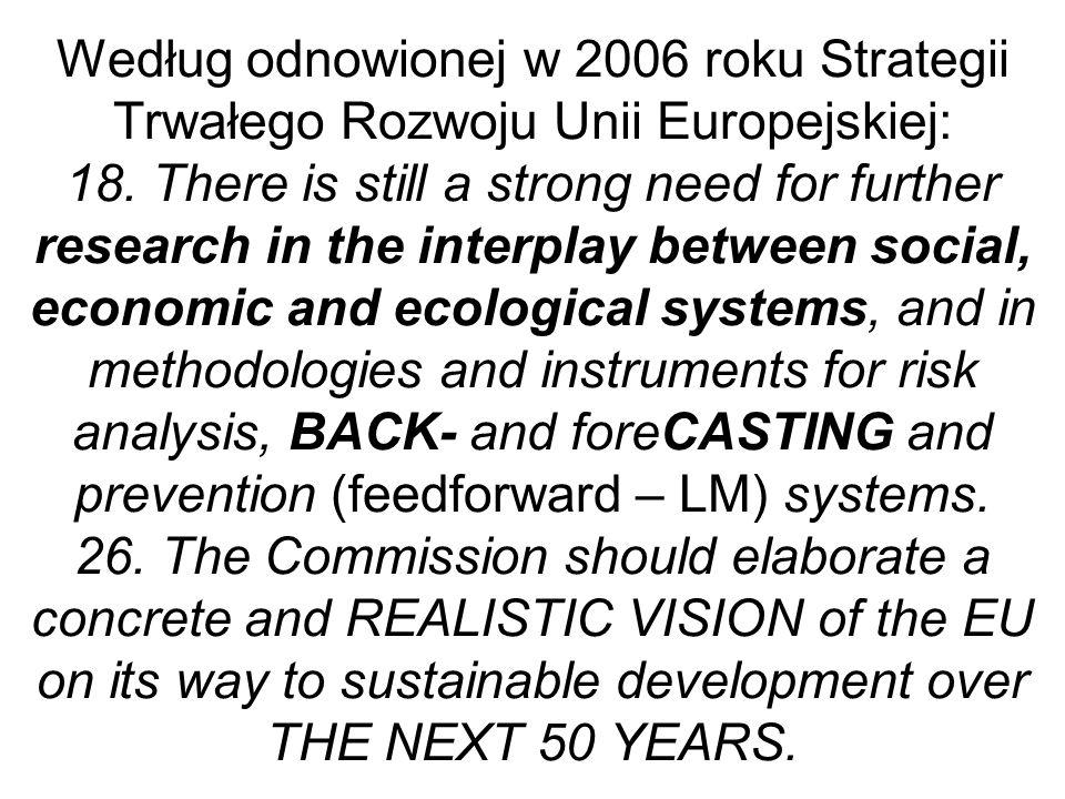 Według odnowionej w 2006 roku Strategii Trwałego Rozwoju Unii Europejskiej: 18.