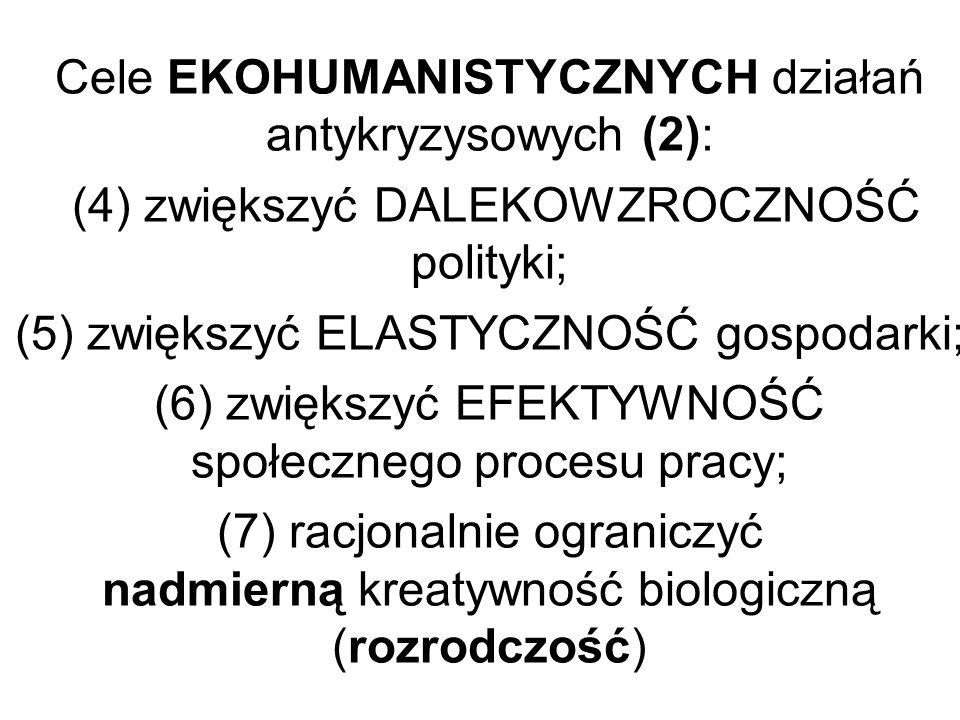 Cele EKOHUMANISTYCZNYCH działań antykryzysowych (2): (4) zwiększyć DALEKOWZROCZNOŚĆ polityki; (5) zwiększyć ELASTYCZNOŚĆ gospodarki; (6) zwiększyć EFEKTYWNOŚĆ społecznego procesu pracy; (7) racjonalnie ograniczyć nadmierną kreatywność biologiczną (rozrodczość)