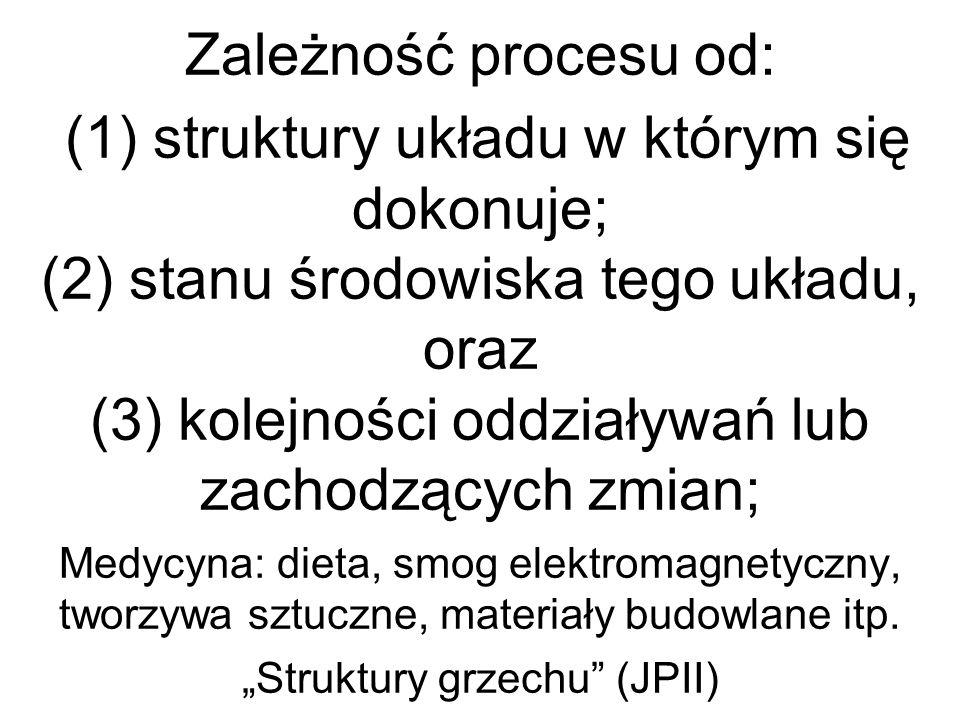 Zależność procesu od: (1) struktury układu w którym się dokonuje; (2) stanu środowiska tego układu, oraz (3) kolejności oddziaływań lub zachodzących zmian; Medycyna: dieta, smog elektromagnetyczny, tworzywa sztuczne, materiały budowlane itp.
