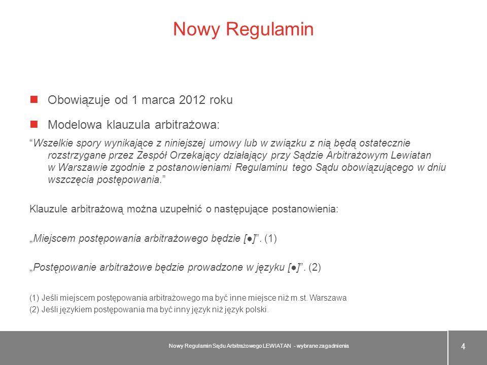 Nowy Regulamin Obowiązuje od 1 marca 2012 roku