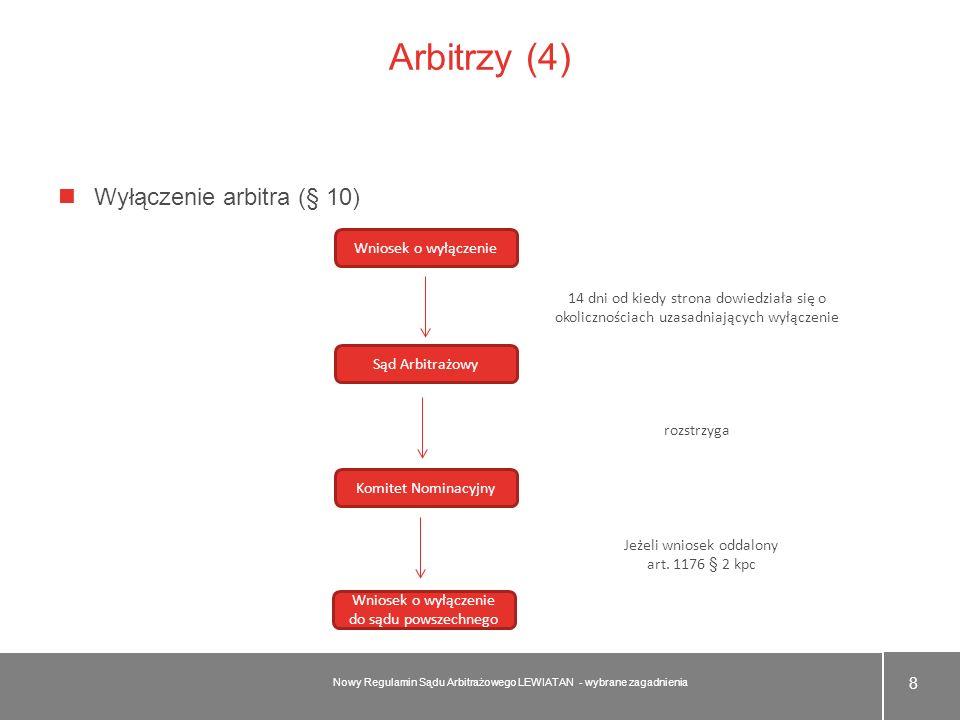 Arbitrzy (4) Wyłączenie arbitra (§ 10) Wniosek o wyłączenie