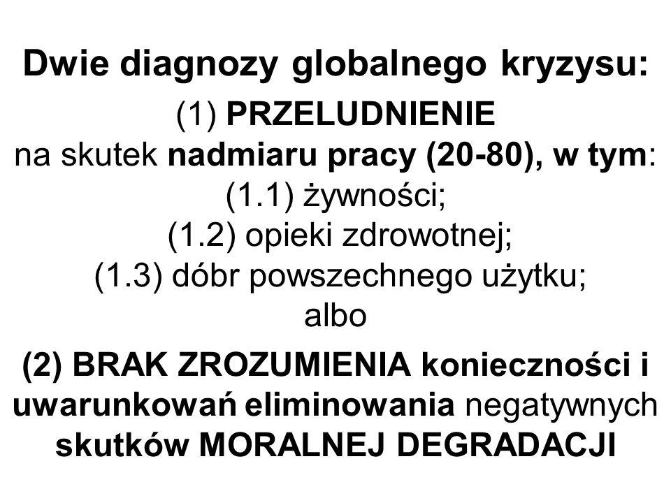Dwie diagnozy globalnego kryzysu: (1) PRZELUDNIENIE na skutek nadmiaru pracy (20-80), w tym: (1.1) żywności; (1.2) opieki zdrowotnej; (1.3) dóbr powszechnego użytku; albo (2) BRAK ZROZUMIENIA konieczności i uwarunkowań eliminowania negatywnych skutków MORALNEJ DEGRADACJI