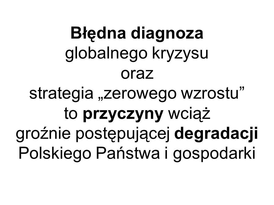 """Błędna diagnoza globalnego kryzysu oraz strategia """"zerowego wzrostu to przyczyny wciąż groźnie postępującej degradacji Polskiego Państwa i gospodarki"""