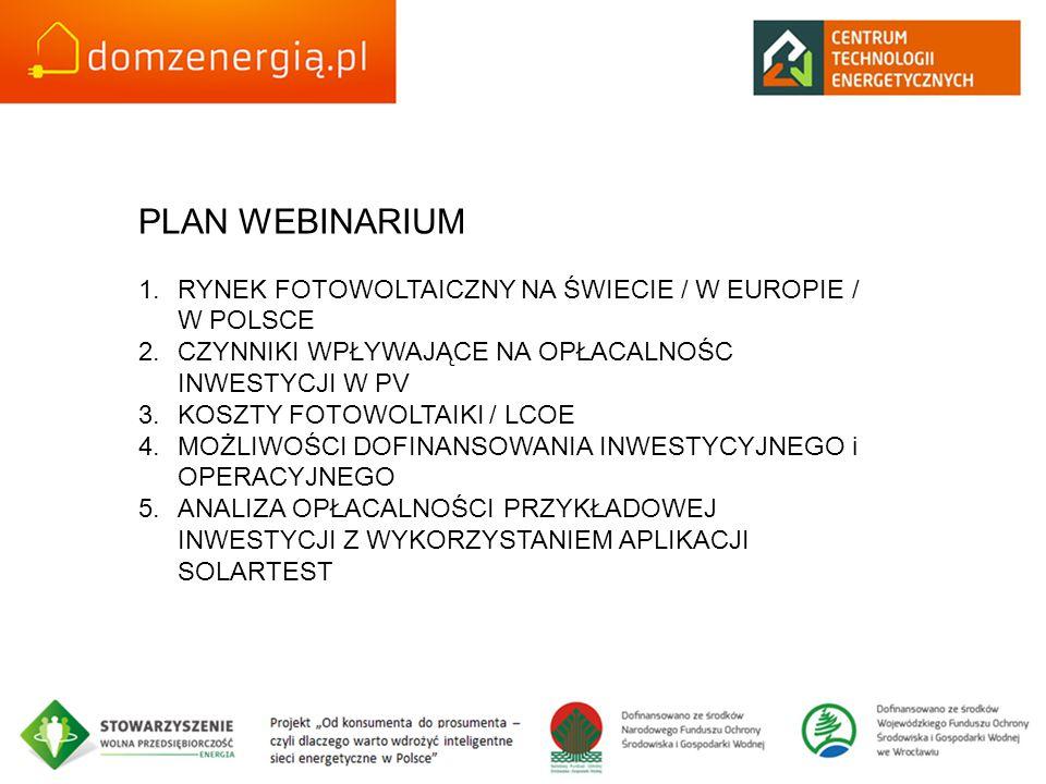 PLAN WEBINARIUM RYNEK FOTOWOLTAICZNY NA ŚWIECIE / W EUROPIE / W POLSCE