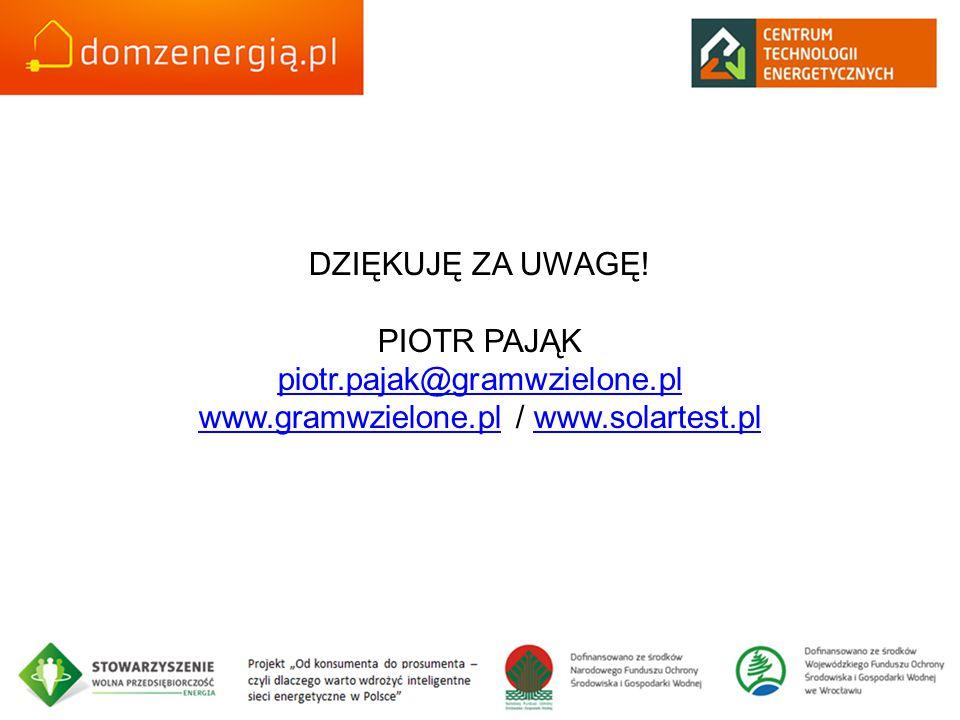 DZIĘKUJĘ ZA UWAGĘ. PIOTR PAJĄK piotr. pajak@gramwzielone. pl www