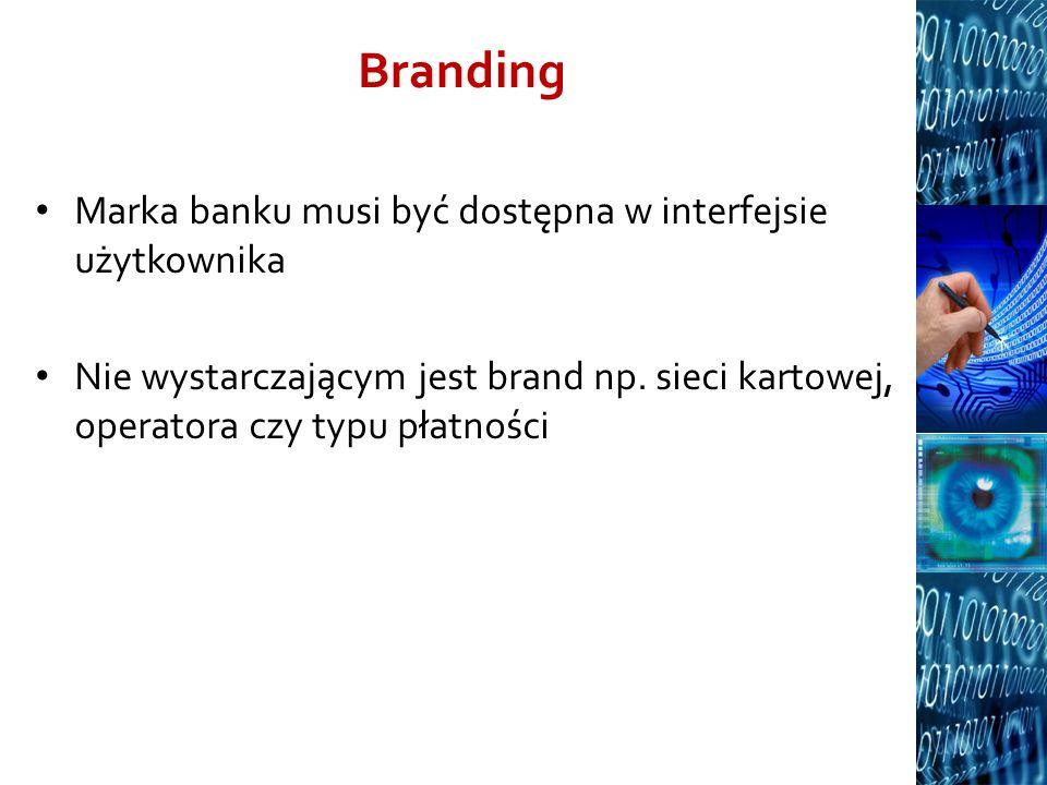 Branding Marka banku musi być dostępna w interfejsie użytkownika
