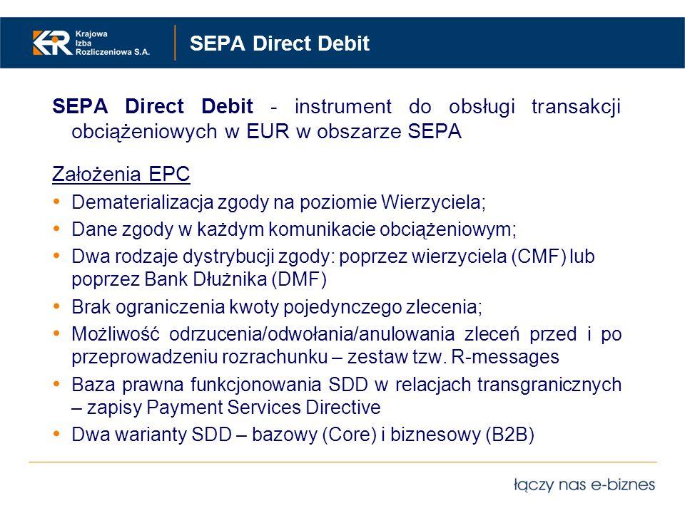 SEPA Direct Debit SEPA Direct Debit - instrument do obsługi transakcji obciążeniowych w EUR w obszarze SEPA.