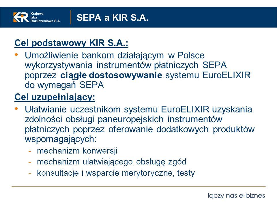 SEPA a KIR S.A. Cel podstawowy KIR S.A.: