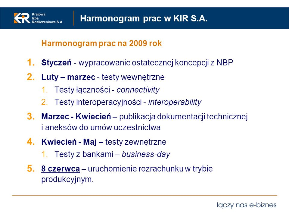 Harmonogram prac w KIR S.A.