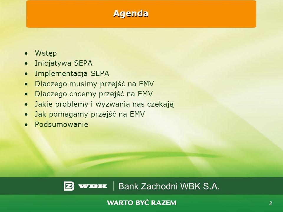 Agenda Wstęp Inicjatywa SEPA Implementacja SEPA