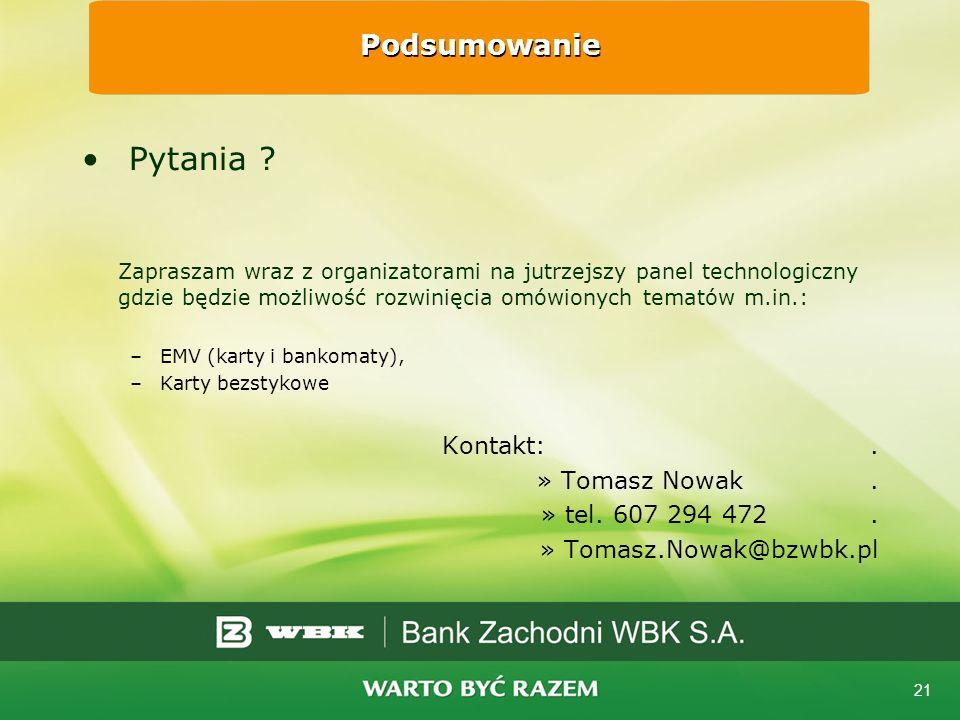 Pytania Podsumowanie Kontakt: . Tomasz Nowak . tel. 607 294 472 .