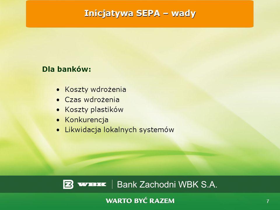Inicjatywa SEPA – wady Dla banków: Koszty wdrożenia Czas wdrożenia